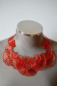 Items similar to Red Art Deco inspired beaded theatrical fantasy Necklace: ready to ship one off piece on Etsy Bead Jewellery, Beaded Jewelry, Beaded Necklaces, Funky Jewelry, Unique Jewelry, Red Art, Bugle Beads, Bead Crafts, Bead Weaving