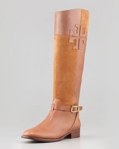 Tory Burch - Lizzie Leather & Suede Riding Boo | Hukkster
