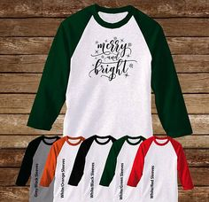 Merry & Bright Raglan T-Shirt/Christmas Shirt/Happy