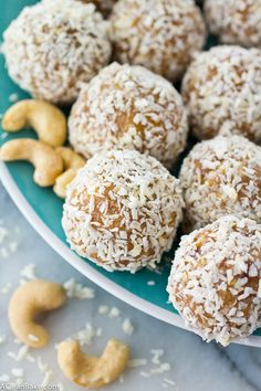 Coconut Cashew Energy Bites are a clean eating and whole 30 friendly snack or dessert that keeps you going! Made from real food, and ingredients. Easy to make and healthy and delicious to eat! Low Carb Recipes, Real Food Recipes, Snack Recipes, Cooking Recipes, Vegan Recipes, Protein Bites, Energy Bites, Protein Energy, Vegan Snacks