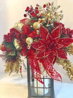 Poinsettia Lantern Swag Christmas Lantern Swag by ScrapyWreathShop Christmas Trimmings, Christmas Poinsettia, Christmas Swags, Simple Christmas, Vintage Christmas, Christmas Holidays, Christmas Crafts, Christmas Ideas, Burlap Christmas