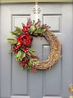 Winter Wreath  Grapevine Wreath  Winter by WreathsByRebeccaB, $53.00