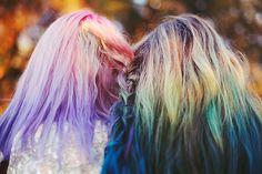 #ombre #hair #plat #dipdye #lovingit #purple #pink #blue #turquoise #blonde #flickr #la_caitlyn