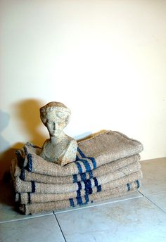 Vintage French Grain Sacks from Paris Flea Market. $45.00, via Etsy.
