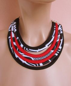 African Statement Jewelry Black White and Red Bib by nad205
