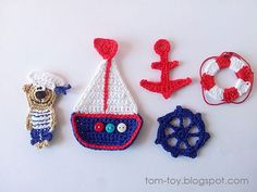 Discover thousands of images about Crochet nautical appliqueCrochet nautical applique: sailor bear boat anchor life buoy wheel in navy blue, red and white colors.This post was discovered by TomToy.) your own Posts on Unirazi.Marinero a crochetNautische Ha Crochet Anchor, Nautical Crochet, Crochet Bunting, Crochet Flowers, Motifs D'appliques, Crochet Motifs, Crochet Patterns, Crochet Appliques, Crochet Gifts