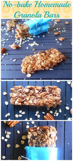 No-Bake Homemade Granola Bars with Nuts, Rolled Oats, Raisins, Almonds, Caramel Bits, Flax Seed Meal and Chocolate Chips