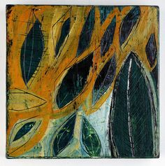 67_leafPattern2 Acrylic, enamel, carving on birch panel 6 x 6 inches Barbara Gilhooly © 2011