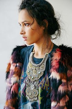 Patchwork fur, statement necklace, vintage rock tee : Def Leppard