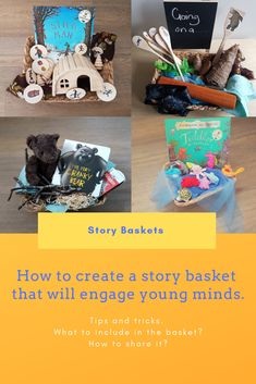 How to create a story basket that will engage young minds. Tips and Tricks. Kindergarten Literacy, Early Literacy, Literacy Activities, Nursery Activities, Toddler Activities, Play Based Learning, Learning Games, Kids Learning, Book Baskets