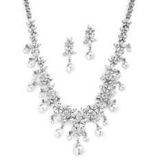 Glamorous White Pearl and CZ Bridal Statement Necklace Set