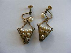 Vintage Basket of Pearls Screw Earrings