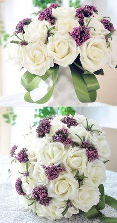 Qishi's Rose Artificial Purple&white Bouquet-bridal Wedding Bouquet 30 Pcs