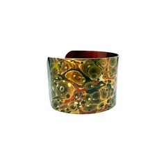 Brown and Red Jewelry - Aluminum Cuff Bracelet - Antique Paper Bangle - Bold Jewelry - Paper Marbling - Cuff Bangle - Sku R13-DS003