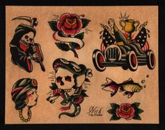 Old School Tattoo Flash 129 by calico1225.deviantart.com
