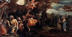 VERONESE, Paolo - Baptism and Temptation of Christ  VERONESE, Paolo. (b. 1528, Verona, d. 1588, Venezia). . Baptism and Temptation of Christ. 1580-82. Oil on canvas, 248 x 450 cm. Pinacoteca di Brera, Milan. .