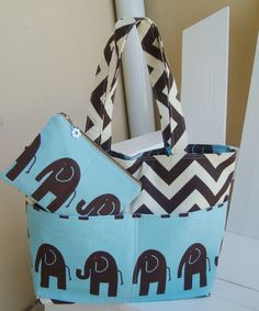 Large Diaper bag set made of Chevron brown Fabric and elephant //. $55.00, via Etsy.