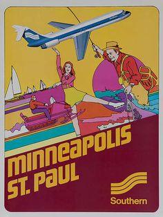 Southern Airways Original Travel Poster Minneapolis St Paul (1970s)