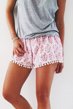 Cute Patterned Pom Pom Shorts - Loose Fit Navy Print with White ...