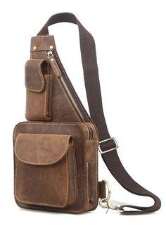 Online Shop TIDING Fashion  Vintage Style Leather Men Sling Bag Cross body Shoulder Bag  8051R|Aliexpress Mobile