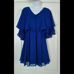 ☆HP☆  ASOS cape dress EUC Royal blue chiffon dress with cape style top.  Beautiful! EUC price firm on this listing! The last photo is the same dress but in black used it to show a different angle. ASOS Dresses