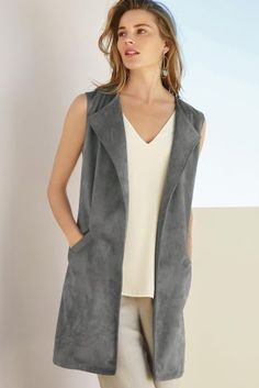Buy Grey Sleeveless Suedette Jacket online today at Next: United States of America