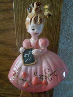 josef originals February Valentine's Day Girl Figurine Hearts Signed