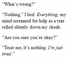 """nothing  """"Nothing,"""" I lied."""