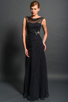 Classic Illusion Floor Length Chiffon Sheath Column Mother Of The Bride Dress B2ed0030