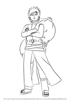 Learn How to Draw Gaara from Naruto (Naruto) Step by Step : Drawing Tutorials