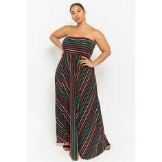 Forever21 Plus Size Striped Maxi Dress ($78) ❤ liked on Polyvore featuring plus size women's fashion, plus size clothing, plus size dresses, multi, colorful dresses, multi color maxi dress, strapless maxi dresses, maxi dresses and multicolor maxi dress