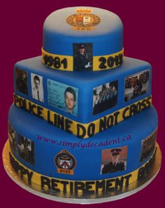 - 3 Tier Fondant Retirement Cake with Edible Images and Police Line - Do Not Cross Tape