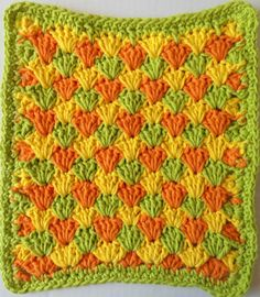 Summer Shells Dishcloth--pattern says to fasten off each color at the end of each row and weave in ends.  Um, really?  Why not just drop the color and pick it up again when you need it?