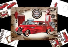 a mini kit for men would work for birthday or fathers day has a vintage theme with a fabulous car and garage elements the greetings tag is a wheel and the choice says happy birthday, on fathers day, special dad, special granddad, for you uncle, and for you brother also a blank tag for the greeting of your choice. Kit contains main topper, decoupage elements, insert plate and mini gift card with envelope thank you for looking please take a peek at my other items