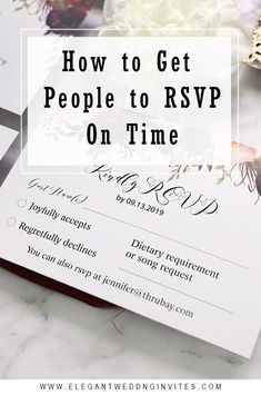 Getting your wedding guests to respond to your RSVP on time is one of the more frustrating aspects of wedding planning. From creating your RSVP timel. The Wedding Date, Wedding Rsvp, Wedding Tips, Wedding Blog, Wedding Planning, Wedding Dress, Wedding Invitation Etiquette, Affordable Wedding Invitations, Wedding Etiquette