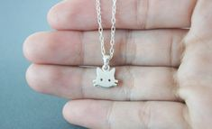 Tiny Cat  Necklace - Cat silver - Handmade in sterling silver