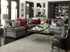 oh sweet baby Jeebus, I love the grey with pops of color and dark accents ::Living Room Inspiration Galleries