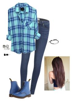 """""""Blue"""" by hanakdudley ❤ liked on Polyvore featuring Paige Denim, Dr. Martens, Pieces, Monica Vinader and Bling Jewelry"""