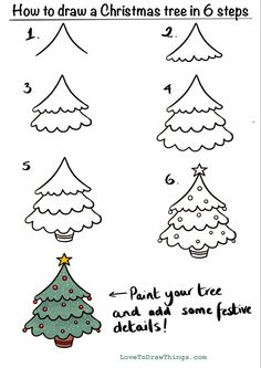 Easy Christmas Drawings, Christmas Doodles, Diy Christmas Cards, Christmas Crafts For Kids, Xmas Crafts, Kids Christmas, How To Draw Christmas Tree, Simple Christmas Tree Drawing, Cute Easy Drawings