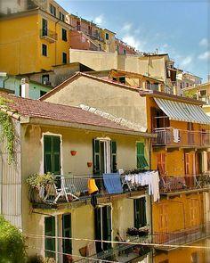 Cinque Terre Print - Italy Laundry Photography - Colorful Italian Photograph Rustic Mediterranean Home Decor Orange Yellow Autumn Fall