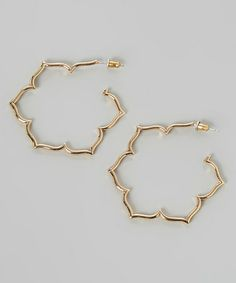 Look what I found on #zulily! Gold Magnolia Hoop Earrings #zulilyfinds