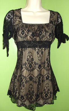 Medium Black Lace Shirt Top Blouse Rockabilly Victorian Romantic Steampunk