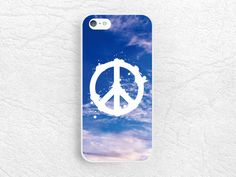 Peace Sign phone case for iPhone 6/6s, Samsung s6 edge, Note 5, LG g3 G4, HTC One M9, Sony Xperia Z5, Moto X 2nd gen, blue sky case -P64