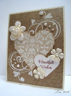Paige has challenged us at the Cards Blog  to make something using monochromatic colors. I decided to make a hearts and flowers wedding c...