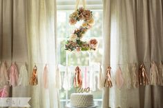 feather + light photography | Second Birthday Party | Pink + Gold | Floral Number