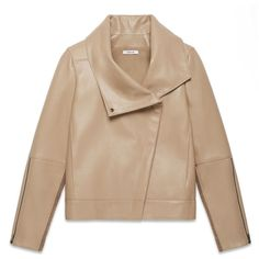 Helmut Lang Petal Leather High Collar Jacket ($695) ❤ liked on Polyvore featuring outerwear, jackets, coats, leather jacket, field, beige leather jacket, real leather jacket, asymmetrical zip jacket, helmut lang and genuine leather jacket