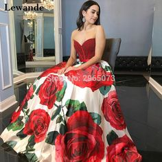 Strapless Floral Printed 2018 Prom Dress 52039