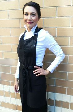 Sandra Harvey Sorceress Apron for Women in Black. A perfect gift for the Chef,  Baker, Caterer,  culinary student. www.sandraharvey.com  Multiple style chef coats and jackets, chef pants, aprons, and more