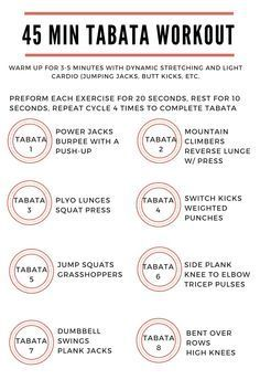 30 to 45 minute tabata workout - Google Search