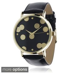 Express yourself through your accessories with this chic Geneva platinum women's watch. Vibrant colors on the fun polka-dot patterned dial are extended onto the strap for a matching look and a whimsic